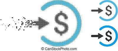Dissolving Pixel Halftone Income Icon