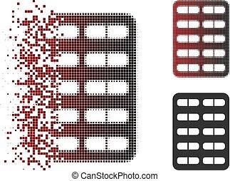 Dissolving Pixel Halftone Pill Blister Icon