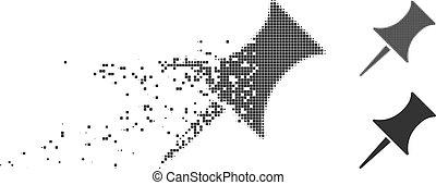 Dissolving Pixel Halftone Pin Icon