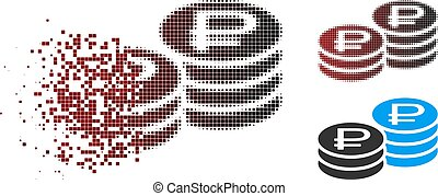 Dissolving Pixel Halftone Rouble Coin Stacks Icon