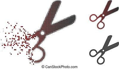 Dissolving Pixel Halftone Scissors Icon