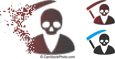 Dissolving Pixel Halftone Scytheman Icon