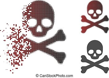 Dissolving Pixel Halftone Skull And Crossbones Icon