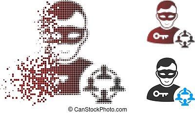 Dissolving Pixel Halftone Social Hacker Icon