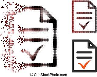 Dissolving Pixel Halftone Valid Document Icon