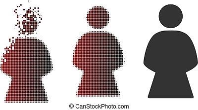Dissolving Pixel Halftone Woman Icon