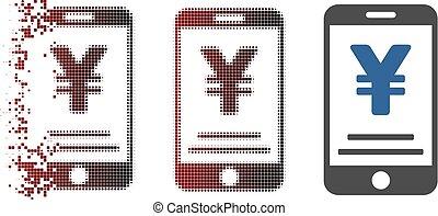 Dissolving Pixel Halftone Yen Mobile Payment Icon