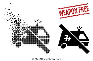 Dissolving Pixelated Forbidden Jail Car Icon and Distress Weapon Free Seal Stamp