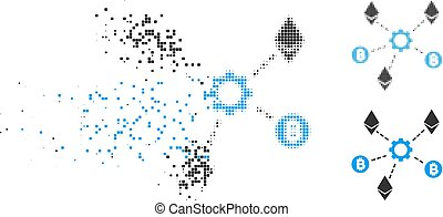 Dissolving Pixelated Halftone Cryptocurrency Network Nodes Icon