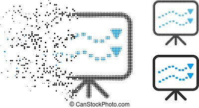 Dissolving Pixelated Halftone Dotted Trends Board Icon -...