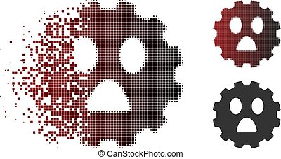 Dissolving Pixelated Halftone Fear Smiley Gear Icon