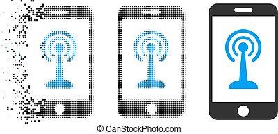 Dissolving Pixelated Halftone Smartphone Radio Control Icon