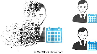 Dissolving Pixelated Halftone User Calendar Icon with Face -...