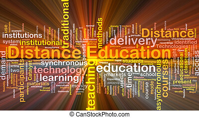 distância, glowing, conceito, educação, fundo