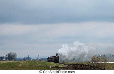 distância, trem, vapor