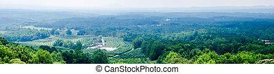 distância, vinyard, virgínia, montanhas