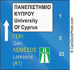 distâncias, sinal direção, chipre, estrada, destinos