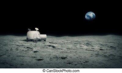 distance, base, la terre, lune