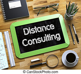 Distance Consulting Handwritten on Small Chalkboard. 3D.