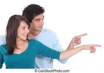 distance, couple, tenu, ensemble, pointage