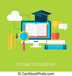 Distance Education Flat Concept