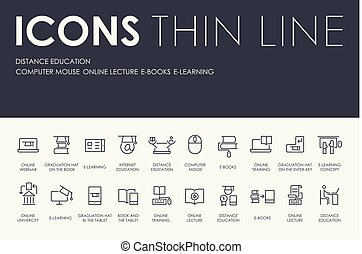 DISTANCE EDUCATION Thin Line Icons
