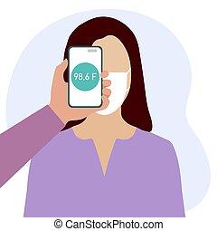 distance, gens, balayage, température, téléphone, santé