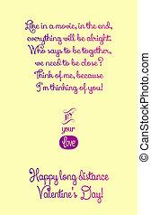 distance, heureux, jour, long, valentine