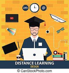 distance, illustration., vecteur, éducation ligne, learning., design.