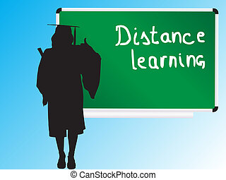 distance learning - young graduate girl showing thumb up for...
