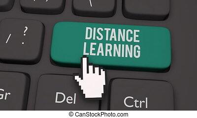 Distance learning keyboard key concept - 3D render ...