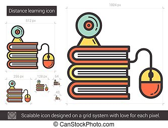 Distance learning line icon. - Distance learning vector line...