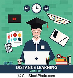 Distance learning. Online education marketing. Vector illustration.