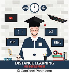 Distance learning. Online education web development. Vector illustration.