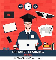 Distance learning. Online education writing. Vector illustration.