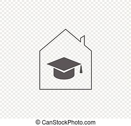 Distance learning, online study - vector illustration on a transparent background