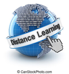 Distance learning with globe formed by binary code, 3d...