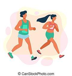 distance, long, couple, course, marathon., concurrence, gens