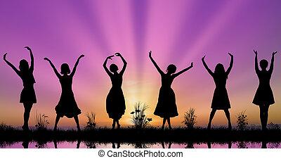 distance, maintenir, physique, silhouettes, jeunes femmes