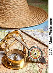 Distance meter and compass - Vintage distance meter, compass...