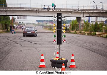 distance, piste, lumière, début, trafic, voiture courir