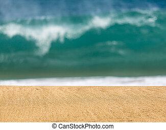 distance, plage, sablonneux, vagues