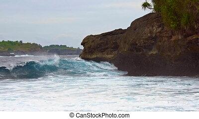 distance, rivage, rocheux, mer, vagues