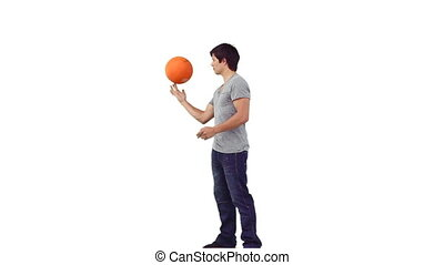 distance, rotation, sien, homme, basket-ball
