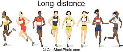 distance, runners., long