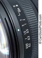 Close up of distance scale of camera lens