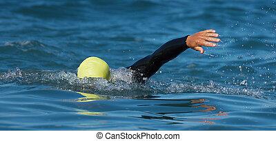distance, triathlon, long, natation