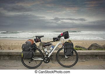 distance, vélo, long, océan