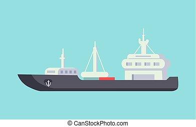 distance, voiture, transport, bateau, long