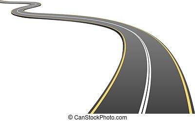 distancia, asfalto, resumen, aislado, fondo., yendo, blanco, camino
